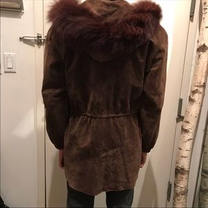Genuine Leather Fox Fur Parka Hooded Suede Coat XS